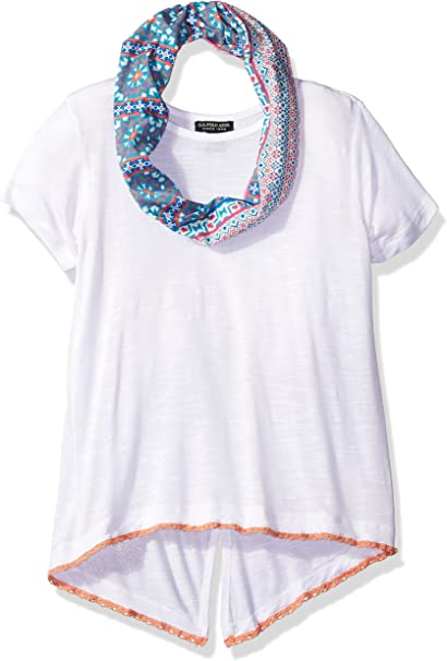 U.S Polo Assn Big Girls S//S Slub V-Neck Tee w//Scarf  Size 7//8 10//12 14//16