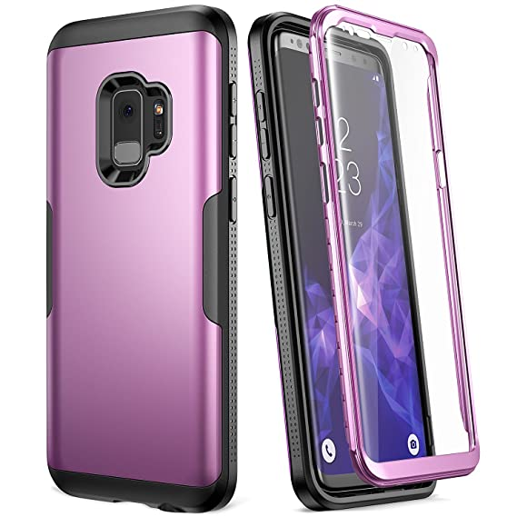 best service fb157 e5680 Galaxy S9 Case, YOUMAKER Metallic Purple with Built-in Screen Protector  Heavy Duty Protection Shockproof Slim Fit Full Body Case Cover for Samsung  ...