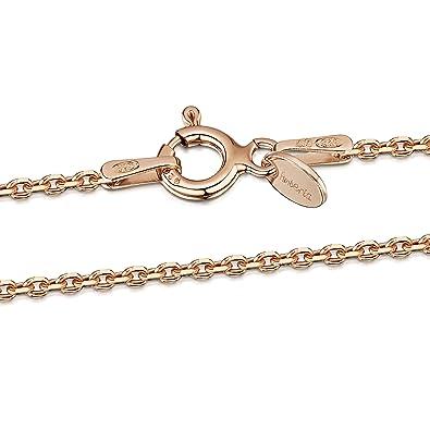 f4420121979 Amberta® Bijoux - Collier - Chaîne Argent 925 1000 - Plaqué Or Rosé 14K -  Maille Forçat - Largeur 1.3 mm - Longueur 40 45 50 55 60 70 cm (45cm)   Amazon.fr  ...
