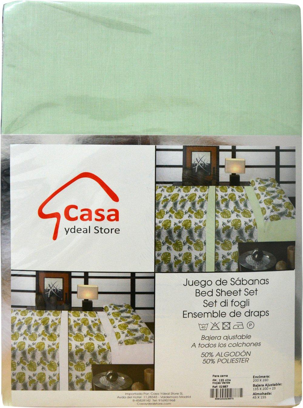Casa Ydeal Store Juego de Sábanas Hojas de Palma Acuarela 50% algodón 50% poliéster (150cm, Verde): Amazon.es: Hogar