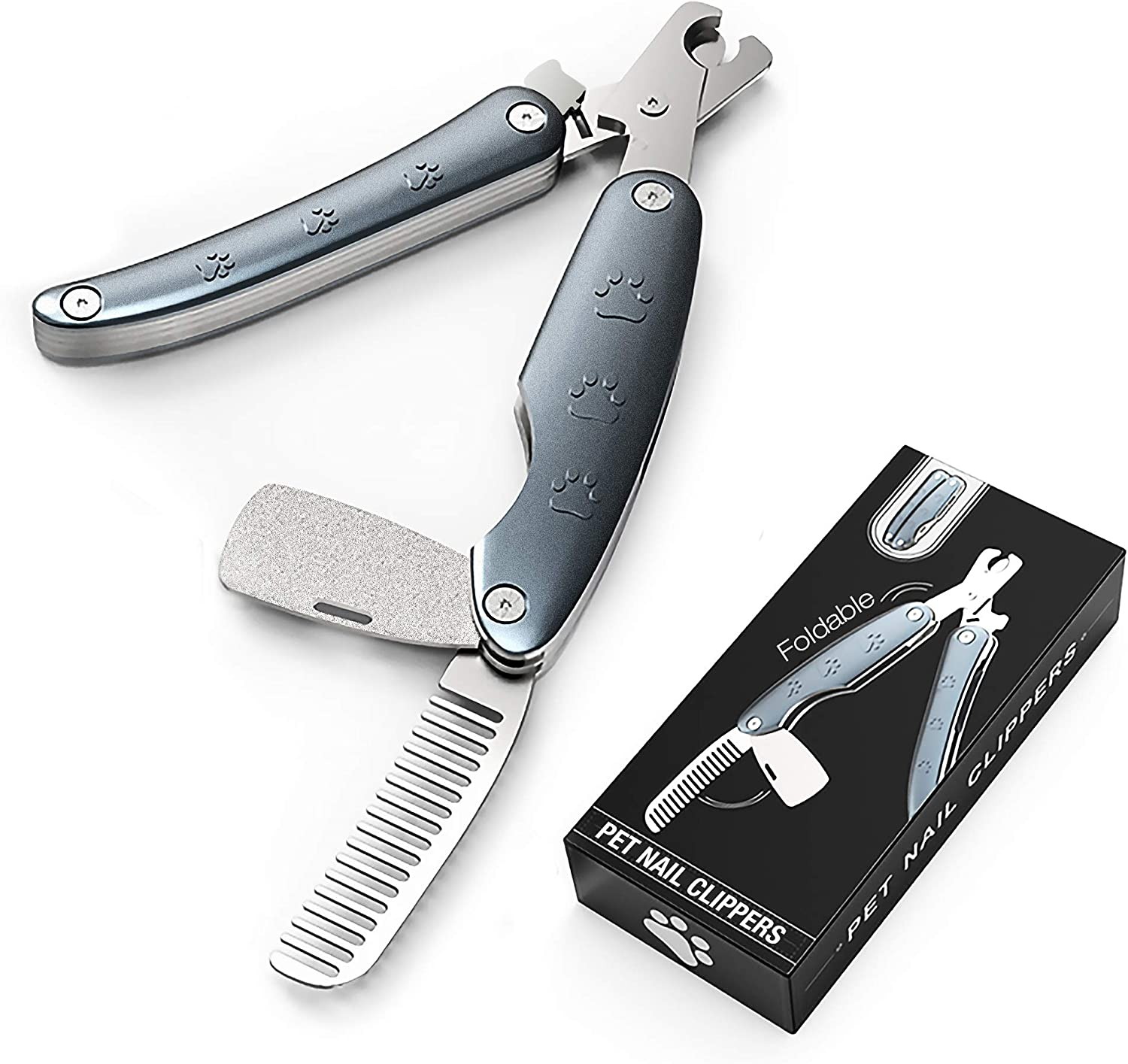 PETXIAOWU Dog Nail Clippers and Trimmer with File and Grooming Brush, Heavy Duty Nailclipper with Safety Guard to Avoid Over-Cutting for Cat, Dog, Rabbit, Guinea Pig at Home