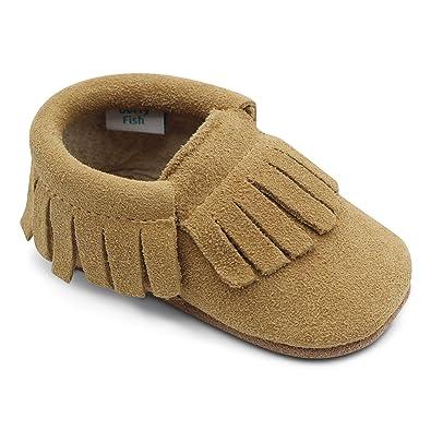 Dotty Fish Zapatos para bebés de bebés. Mocasines con borlas. Zapatos de Cuna Prewalkers