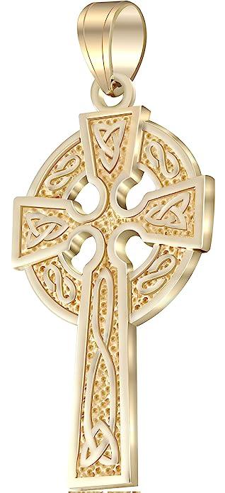 Mens 1625in 14k yellow gold irish celtic knot cross pendant mens 1625in 14k yellow gold irish celtic knot cross pendant aloadofball Images