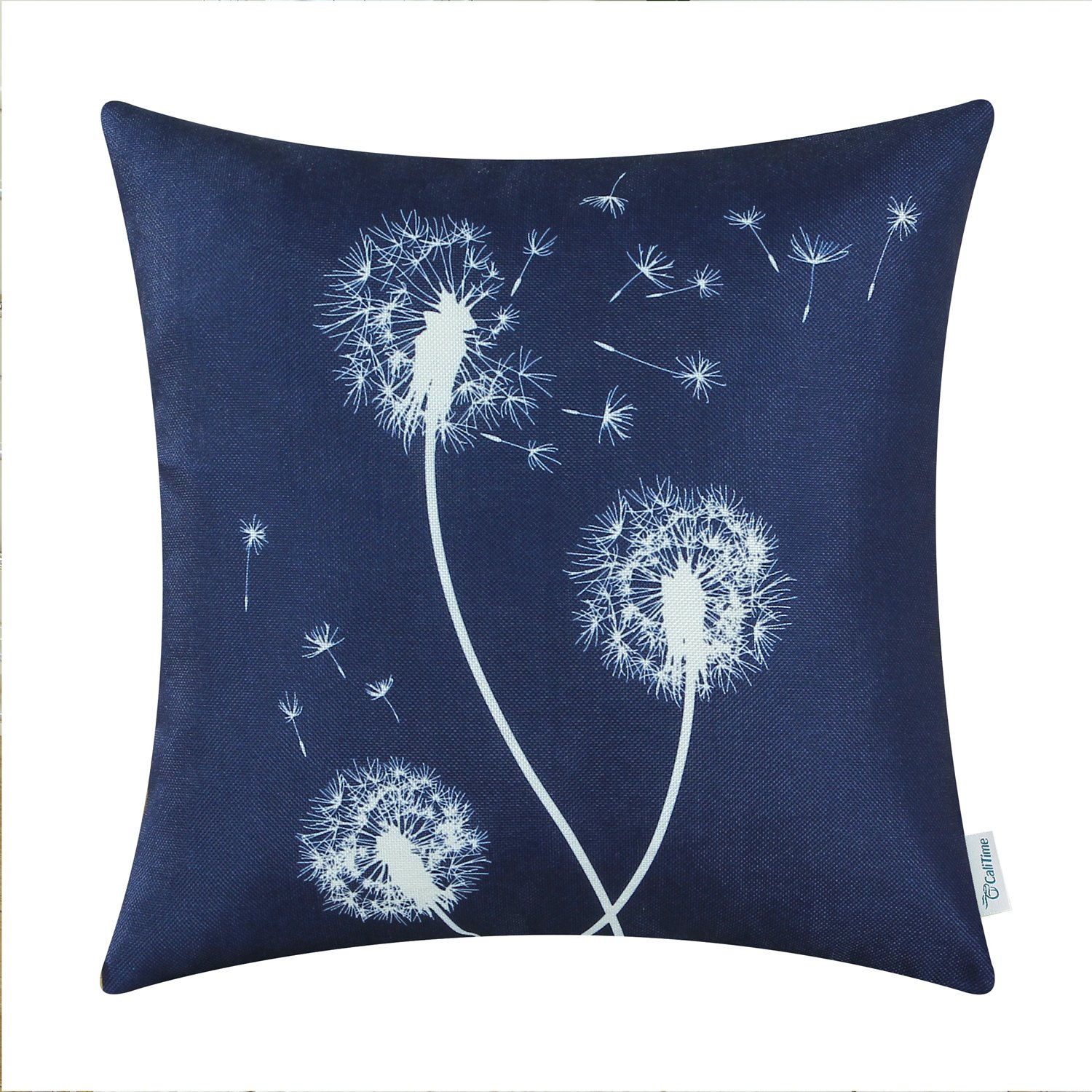 DSCF043PQR Ltd CaliTime Set of 3 Soft Canvas Throw Pillow Covers Cases for Couch Sofa Home Decoration 18 X 18 inches Solid Dandelion Print Medium Grey Qingdao PT Trading Co