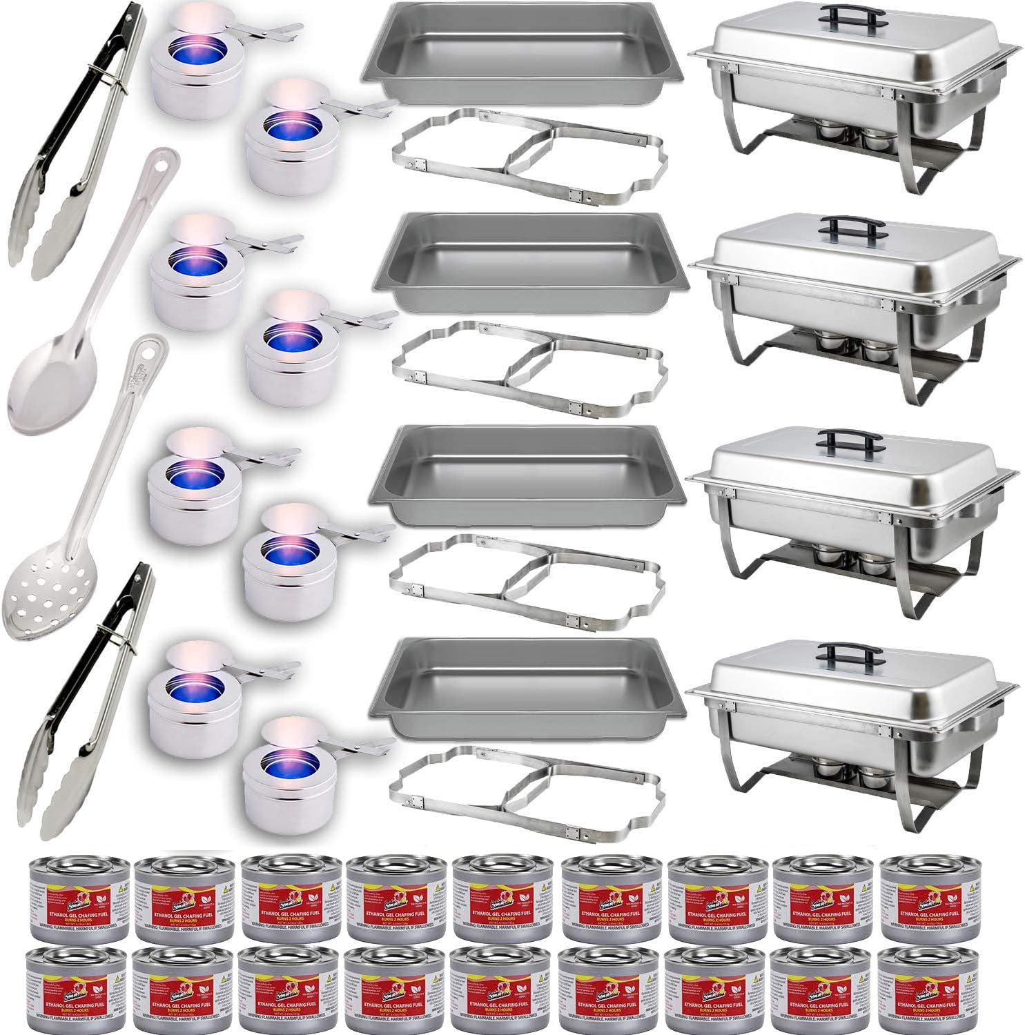 Chafing Dish Buffet Set w/Fuel — Folding Frame + Water Pan + Food Pan (8 qt) + 8 Fuel Holders + 18 Fuel Cans + 4 Serving Utensils (15