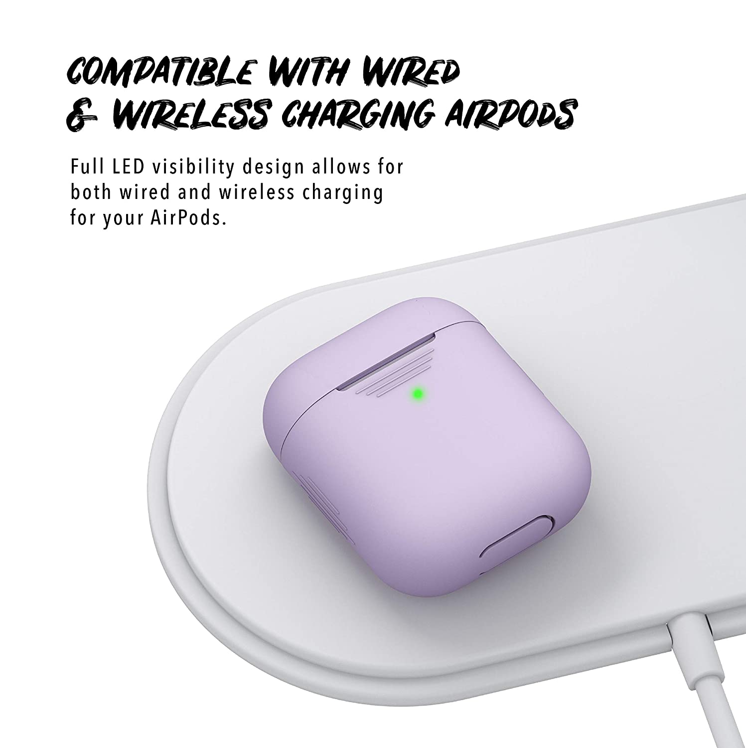 PodSkinz AirPods 2 /& 1 Case Pretty in Pink Front LED Visible Protective Silicone Cover and Skin Compatible with Apple AirPods