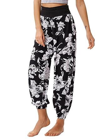 6ca06947985 Kate Kasin Casual Loose Harem Pants Hippie Bohemian Floral Print Yoga Baggy  S Black