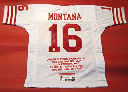 JOE MONTANA AUTOGRAPHED SAN FRANCISCO 49ERS STAT JERSEY MONTANA ...