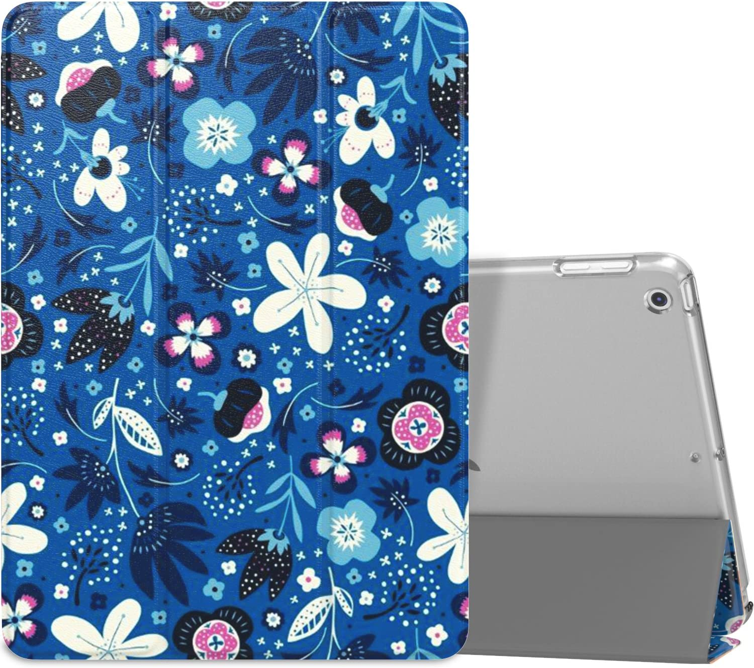 MoKo Case Fit 2018/2017 iPad 9.7 6th/5th Generation - Slim Lightweight Smart Shell Stand Cover with Translucent Frosted Back Protector Fit iPad 9.7 Inch 2018/2017, Blue Flowers(Auto Wake/Sleep)