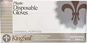 KingSeal Embossed Poly Disposable Gloves, Powder-Free, Latex-Free, Size Small - 4 Boxes of 500 Gloves By Weight (2000 Count)
