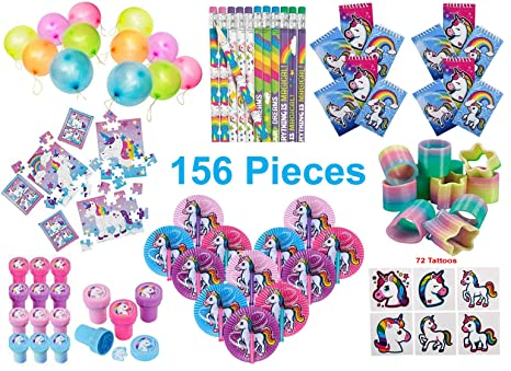Unicorn Party Favors, Birthday Pack for 12 Kids - 156 Pieces - Toys and  Novelty Items - Notebooks, Pencils, Stampers, 24-Piece Puzzles, Folding  Fans,