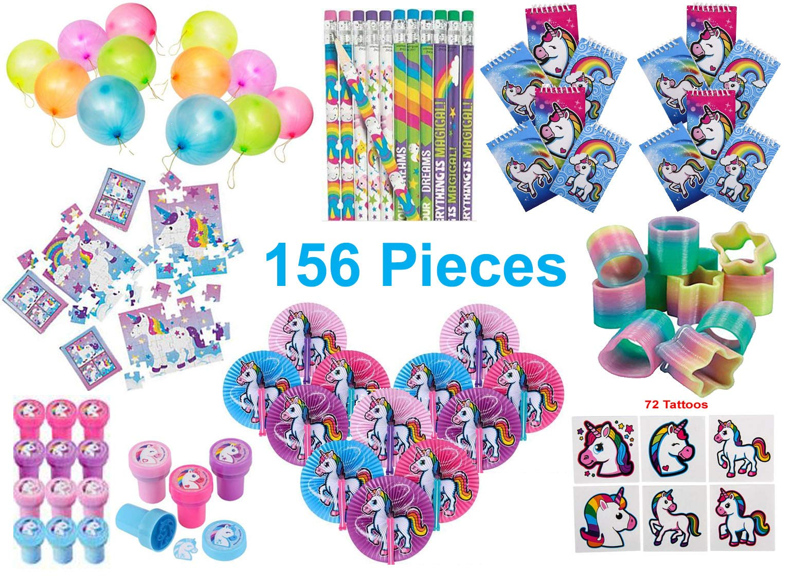 Unicorn Party Favors, Birthday Pack for 12 Kids - 156 Pieces - Toys and Novelty Items - Notebooks, Pencils, Stampers, 24-Piece Puzzles, Folding Fans, Rainbow Mini Plastic Slinkys and Punch Balloons, 72 Tattoos