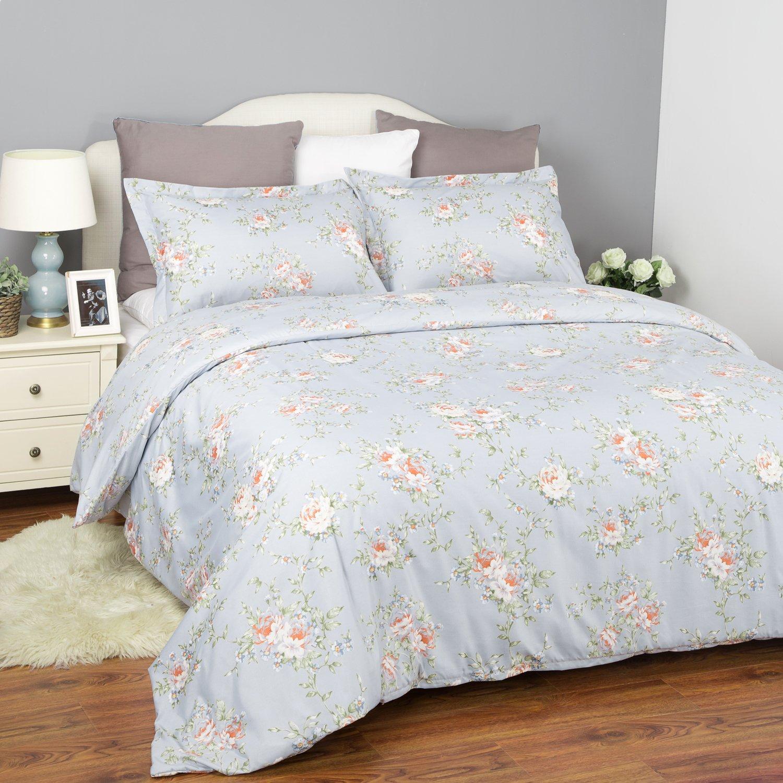 Bedsure Flower Bedding Set Printed Duvet Cover Set with Zipper Closure-White Floral Design,Full/Queen (90\
