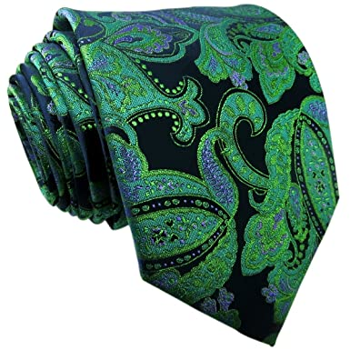 Shlax y ala de hombre corbata corbatas seda Paisley verde oscuro ...