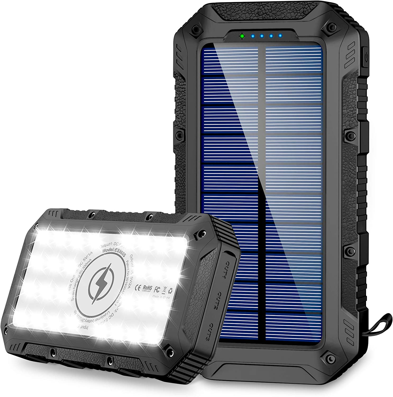 Fkant Wireless Solar Powerbank 26800mah Solarladegerät Elektronik