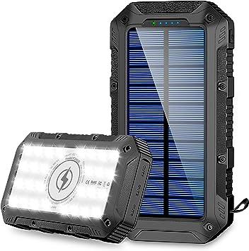 FKANT Power Bank Solar 26800mAh Batería Externa Solar con 4 Puertos 3 Salidas USB & QI Carga Inalámbrico Cargador Solar 28 Linterna LED y Gancho ...