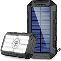 FKANT Power Bank Solar 26800mAh Batería Externa Solar con 4 Puertos (3 Salidas USB & QI Carga Inalámbrico) Cargador…