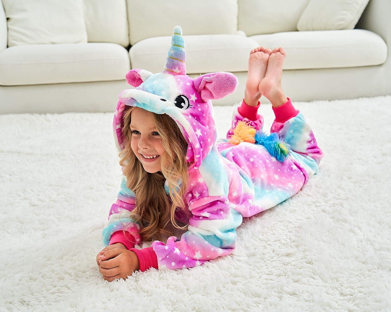 Girls Unicorn Pajamas Onesie with Unicorn Slippers