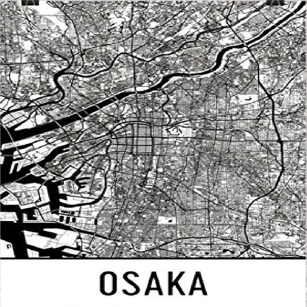 Modern Map Art Imprimir cartel Osaka, arte Osaka, arte Osaka ...