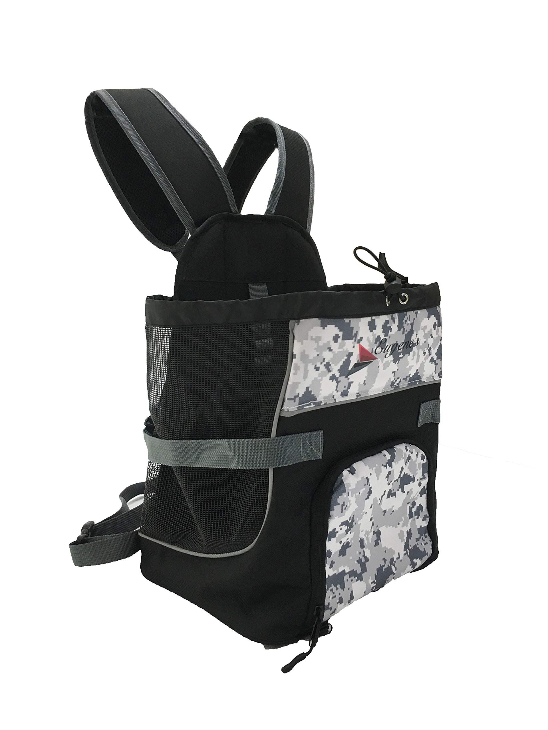 Eugene's Front Dog Cat Pet Carrier, Dog Backpack Bag Free Your Hands. Use as: Dog Carrier, Cat Carrier, Carrier for Small Pets. New Generation of Dog Carriers. for Your Pets up to 16 lbs. Khaki