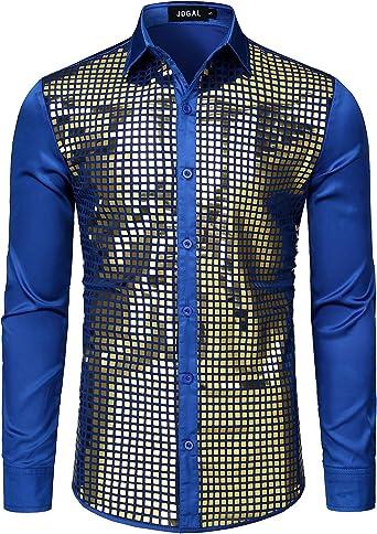 JOGAL - Camisa de lentejuelas para hombre, manga larga, discoteca, fiesta: Amazon.es: Ropa y accesorios