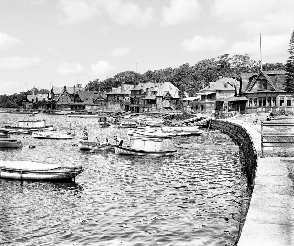 Philadelphia Historic Black & White Photo, Boathouse Row on the Schuylkill River, c1907