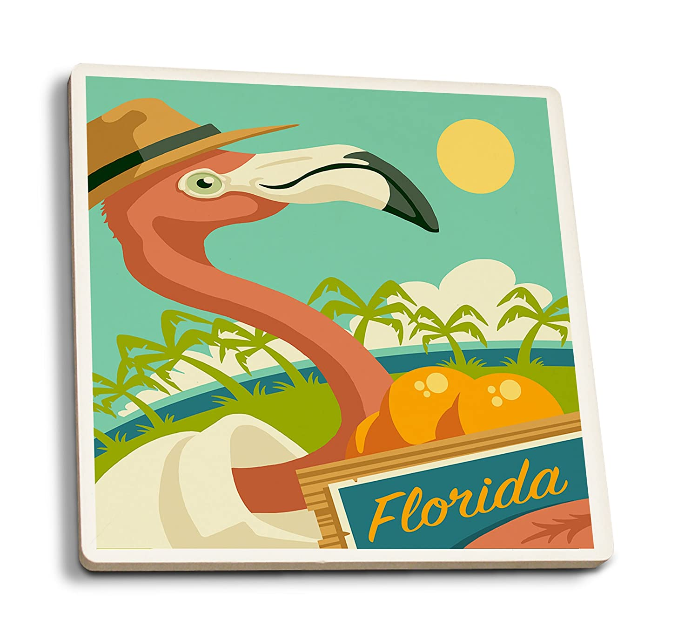 フロリダ州 – Flamingo and Oranges 4 Coaster Set LANT-78339-CT 4 Coaster Set  B079YP1F4W