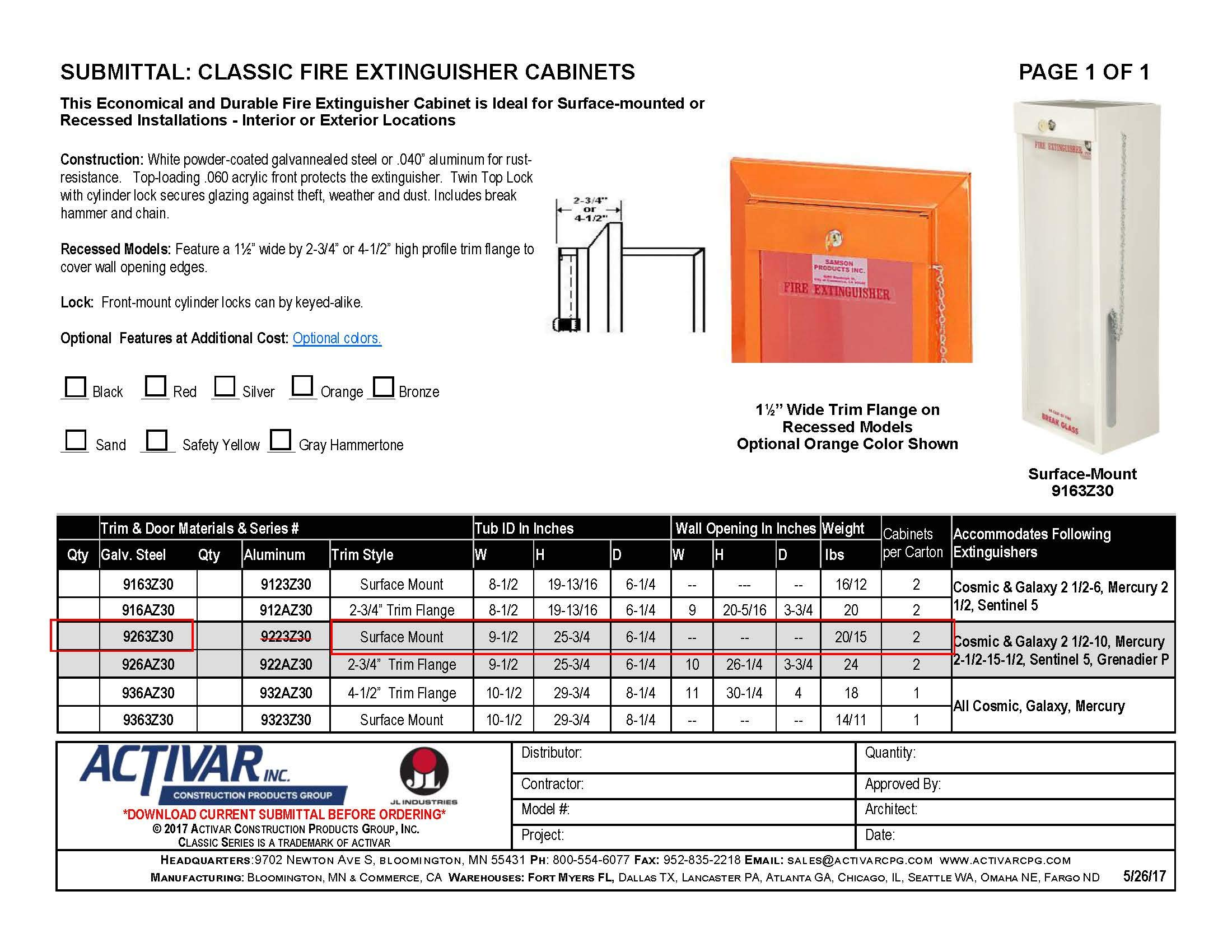 JL Classic Series 9263Z30 10-Pound Fire Extinguisher Cabinet 999G