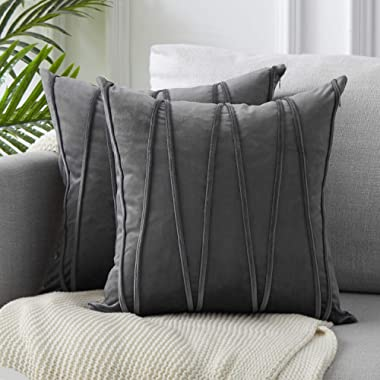 Top Finel Decorative Hand-Made Throw Pillow Covers Soft Particles Velvet Solid Cushion Covers 16 X 16 for Couch Bedroom Car, Pack of 2, Grey