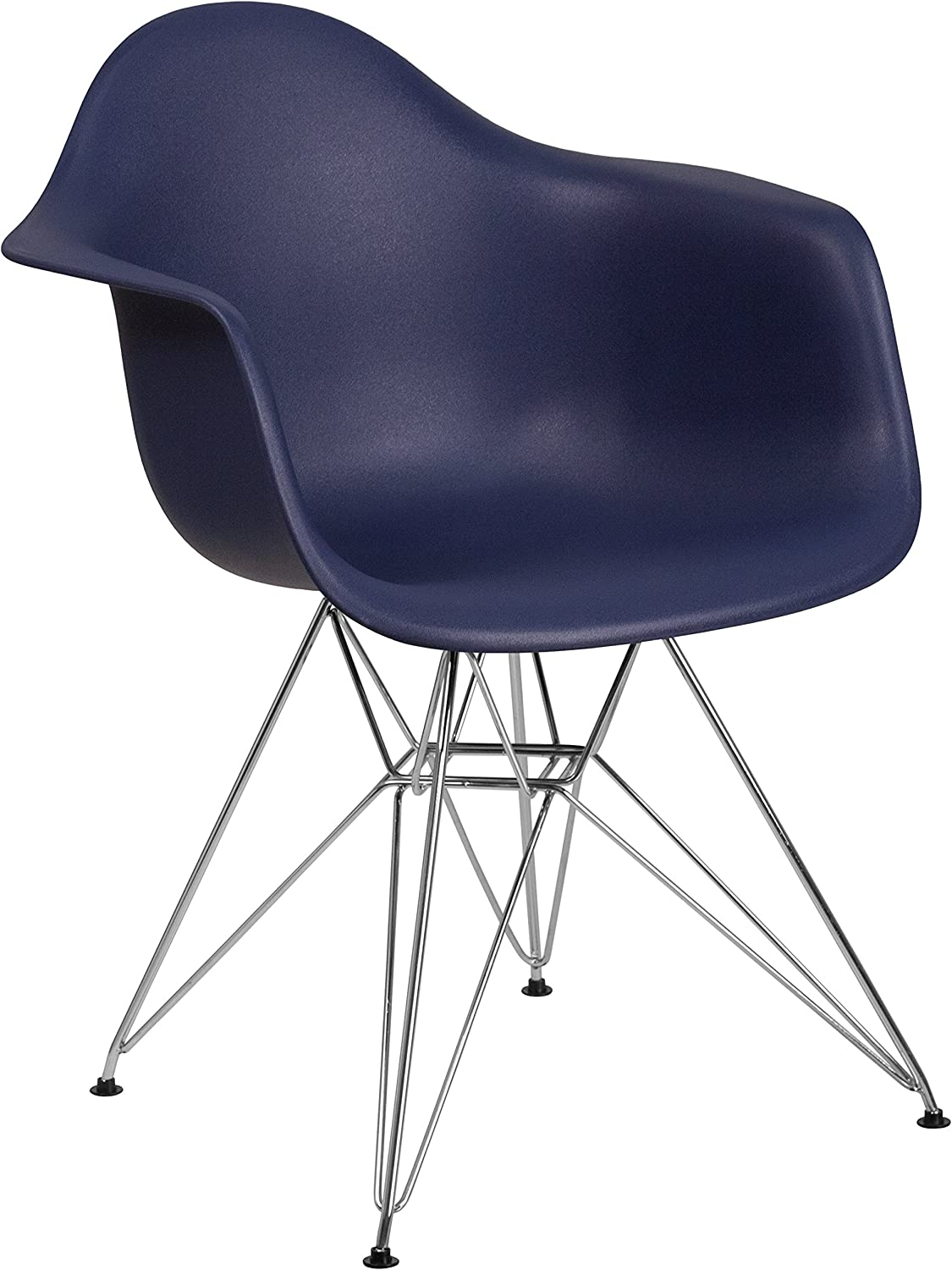 Flash Furniture Alonza Series Navy Plastic Chair with Chrome Base