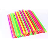 "Sonrise 10 1/2"" x 1/2"" Extra Wide Long Neon Smoothie Boba Milkshake Straws (100)"