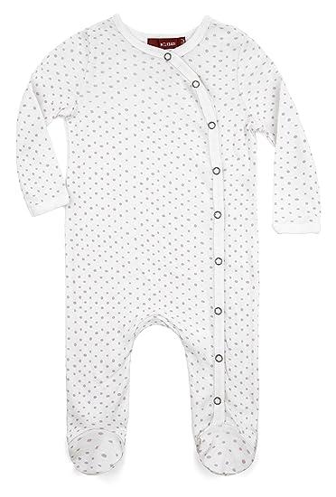 5472c57007bd Amazon.com   Milkbarn Organic Cotton Long Sleeve Footed Romper (Purple  Dots
