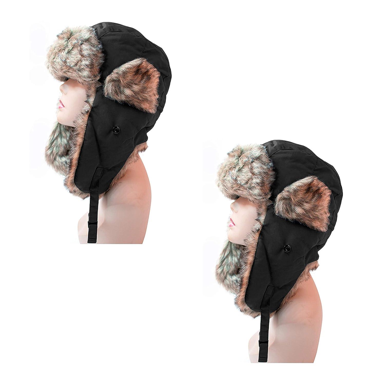 ec810a83064 Pop Fashionwear Women s Trapper Winter Ear Flap Hat P136 (2 Pcs Black    Black) at Amazon Women s Clothing store