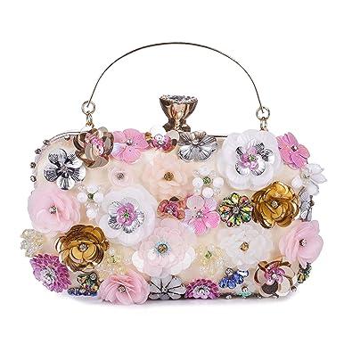 UBORSE Women s Noble Flower Sequins Clutch Colorful Evening Bags Satin  Wedding Purse Pink  Handbags  Amazon.com