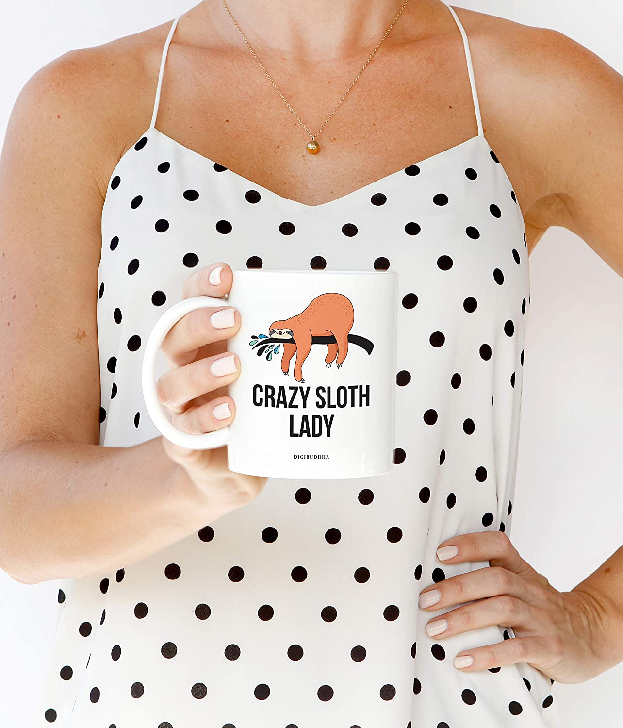 CRAZY SLOTH LADY Coffee Mug Cute Gift Idea for Rain Forest Nature Animal Lover Birthday Christmas All Occasion Present Friend Relative Office Coworker 11oz Ceramic Beverage Tea Cup Digibuddha DM0650