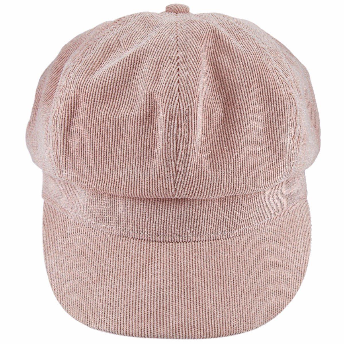 Samtree newsboy Cap For Women,8 Panel IVY Cabbie Beret Visor Brim Hat(Pink(Corduroy))