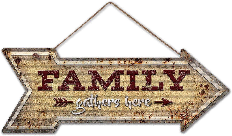 Rusty Roof Studio - Family Gathers Here Rustic Corrugated Arrow Sign, 24 Gauge Galvanized Metal Hanging Retro Art, 7.5 x 20