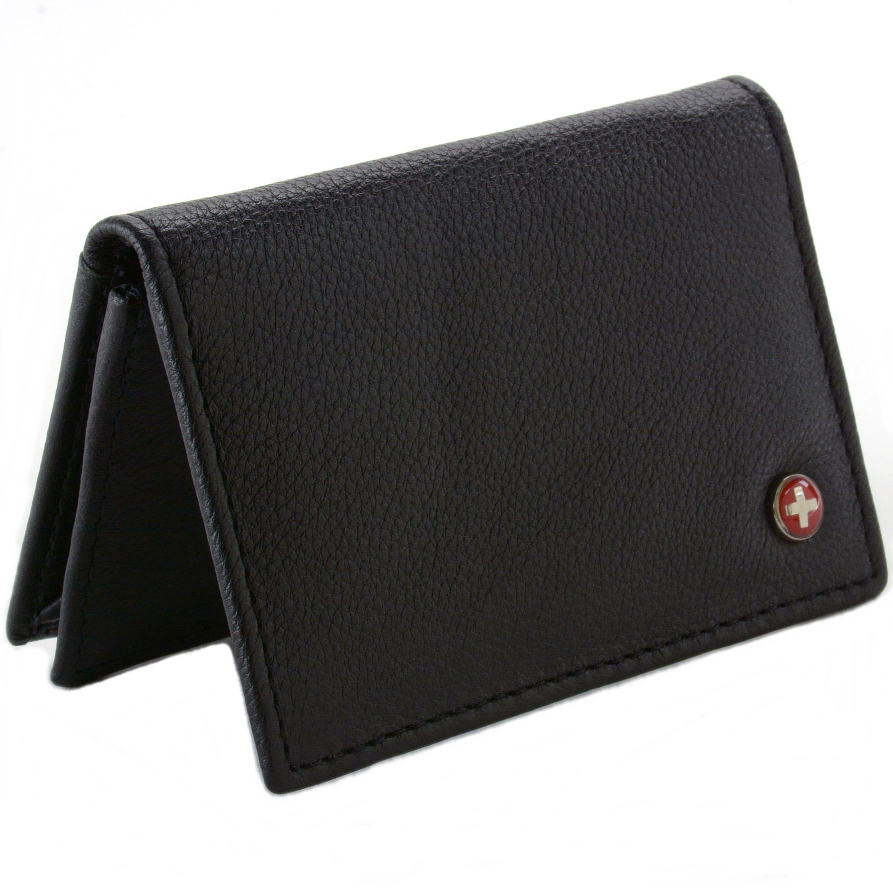 Alpine Swiss RFID Blocking Leather Expandable Business Card Case Wallet Black