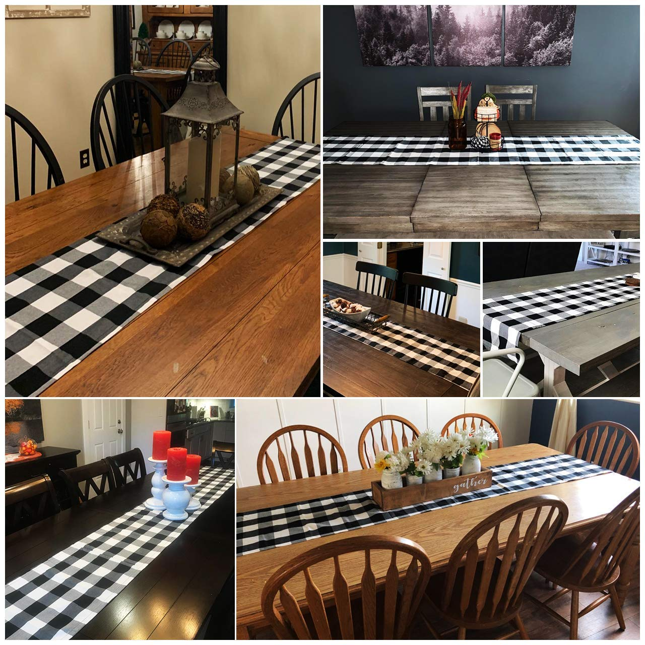 Checkered Table Runner, Trendy & Modern Plaid Design 100% Cotton Table Runner with Three Christmas Hat for Family Dinner, Outdoor or Indoor Events, Thanksgiving, Christmas 14 x 79\