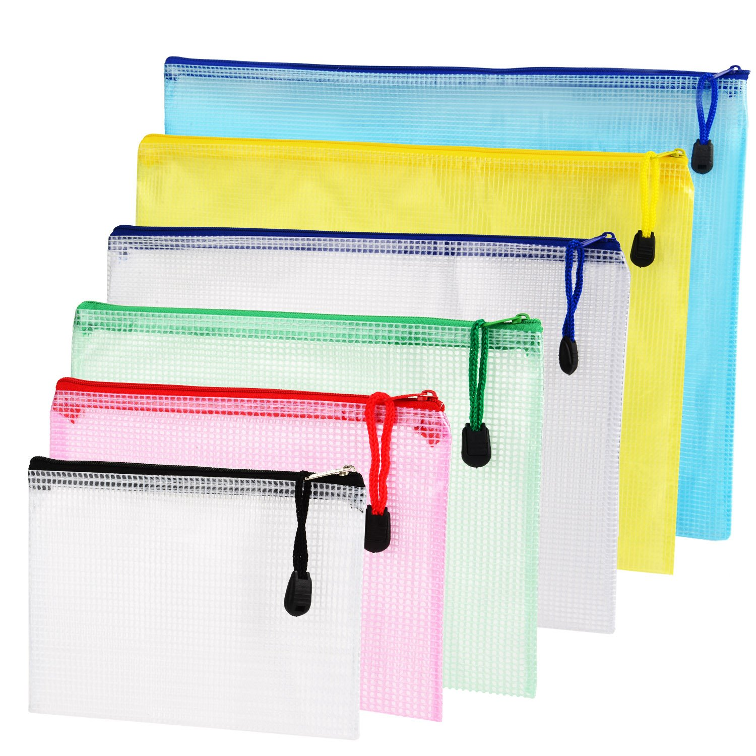 Outus 6 Pieces 6 Size Zipper File Bags Mesh Document Bag File Pouch Storage Zipper Bags for Cosmetics Offices Supplies Travel Accessories, 6 Colors