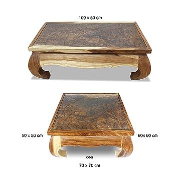 Orientalischer Beistelltisch Couchtisch Opiumtisch Glastisch Schnitzerei Massiv Holz Elefanten Tisch Mit Glas Ablage Wohnzimmertisch Natur 50x50