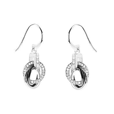 1de8a5aa74e6 Aretes para mujer de Stella Maris - Plata Sterling 925 y cerámica negra  Premium - Circonia cúbica y Diamante - 3 cm - STM15J002  Amazon.es  Joyería