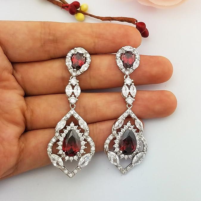 SELOVO sin metal metal común talla pera redondo rojo circonita: Amazon.es: Joyería