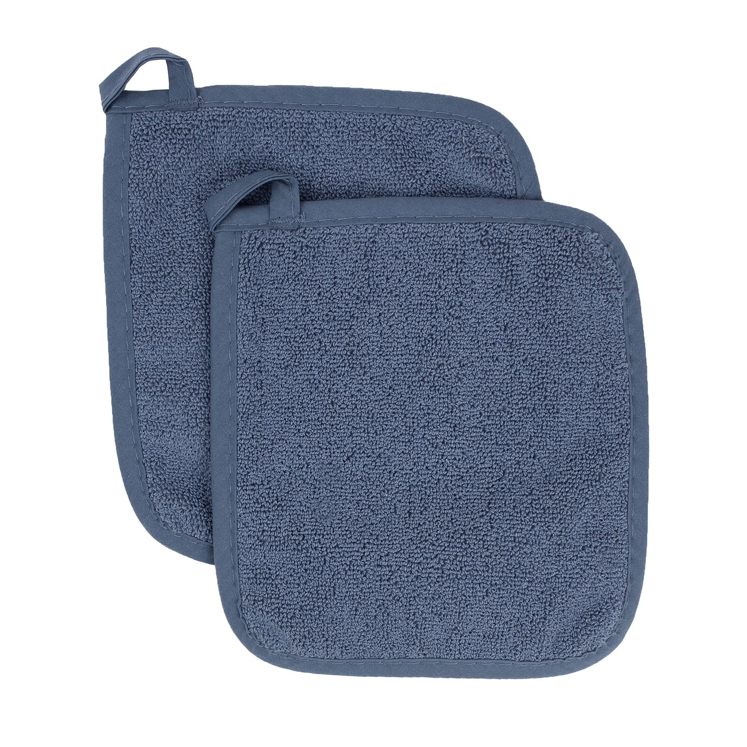 Ritz Royale Collection 100% Cotton Terry Cloth Pot Holder Set, Kitchen Hot Pad, 2-Pack, Federal Blue