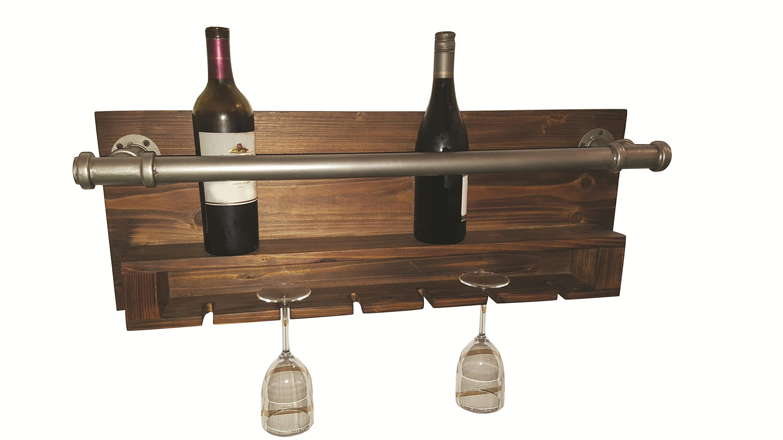 Home Source ''Industrial Wine Rack'' Wall Decor, 6'' x 32'' x 12'', Grey/Oak