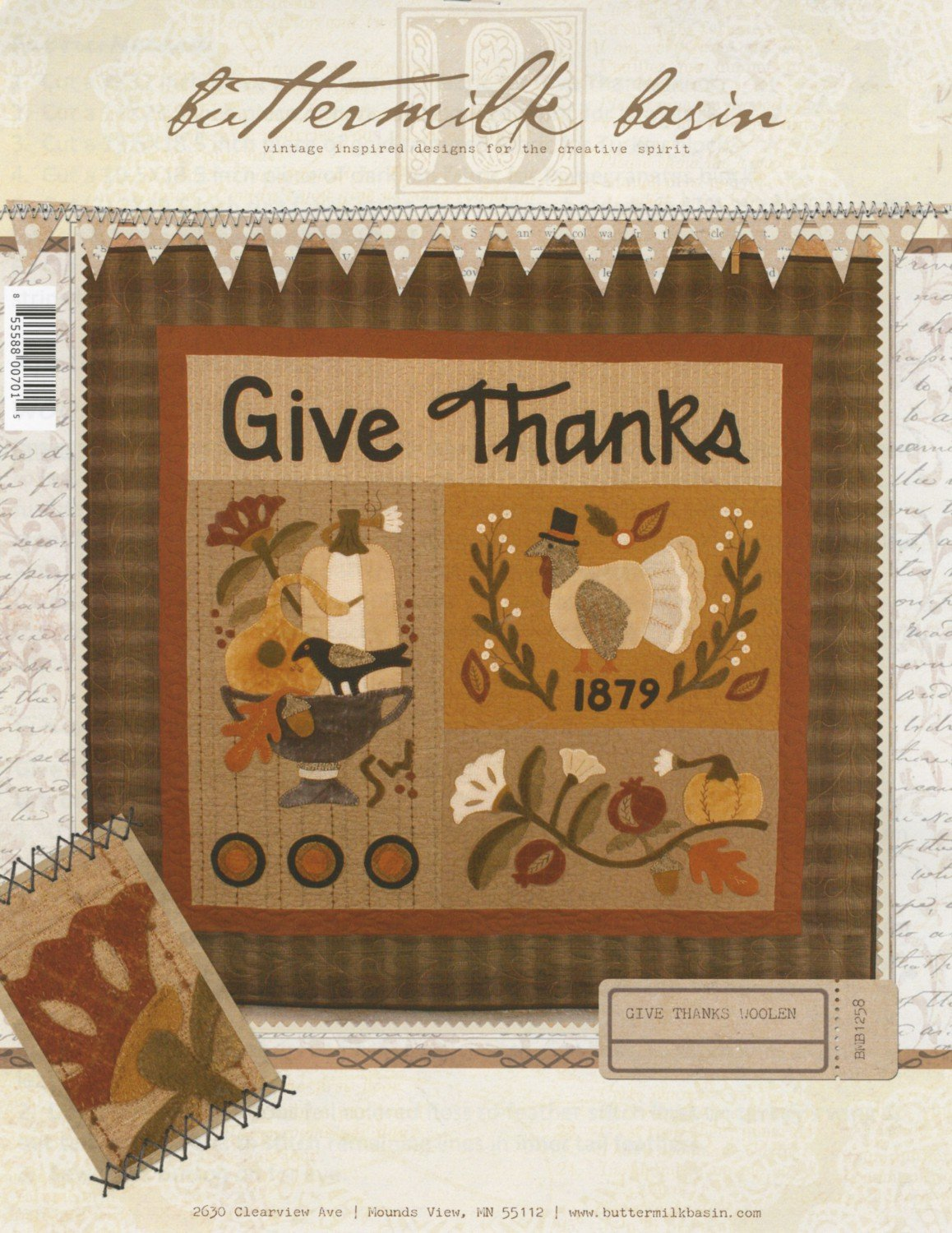 Wool Quilt Pattern Thanksgiving by Buttermilk Basin Give Thanks Woolen BMB 1258-42.5 x 50.5