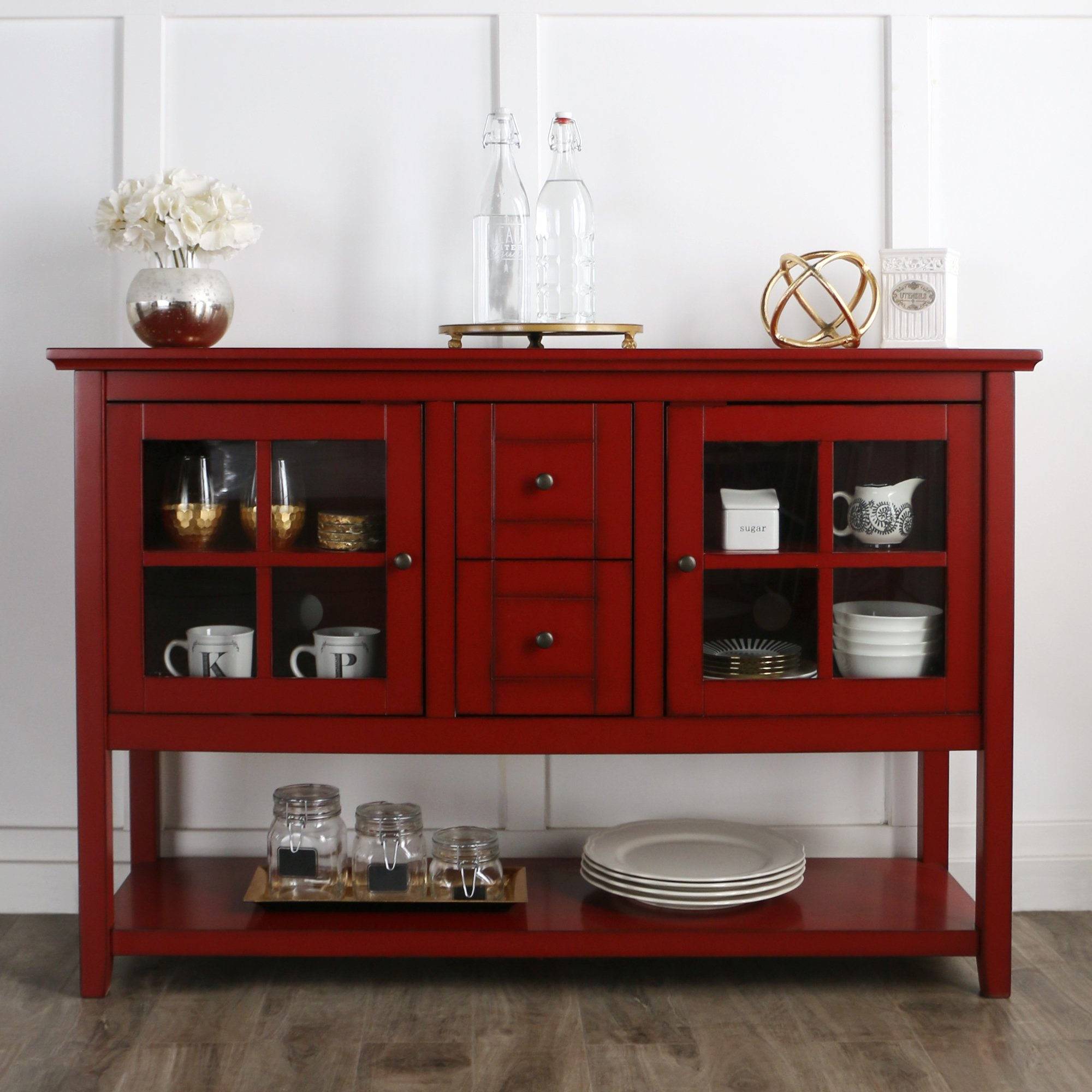 WE Furniture 52'' Console Table Wood TV Stand Console, Red