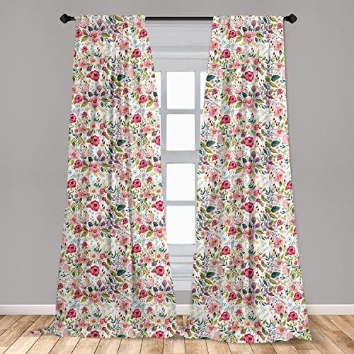 Ambesonne Floral Spring Curtains 2 Panel Set