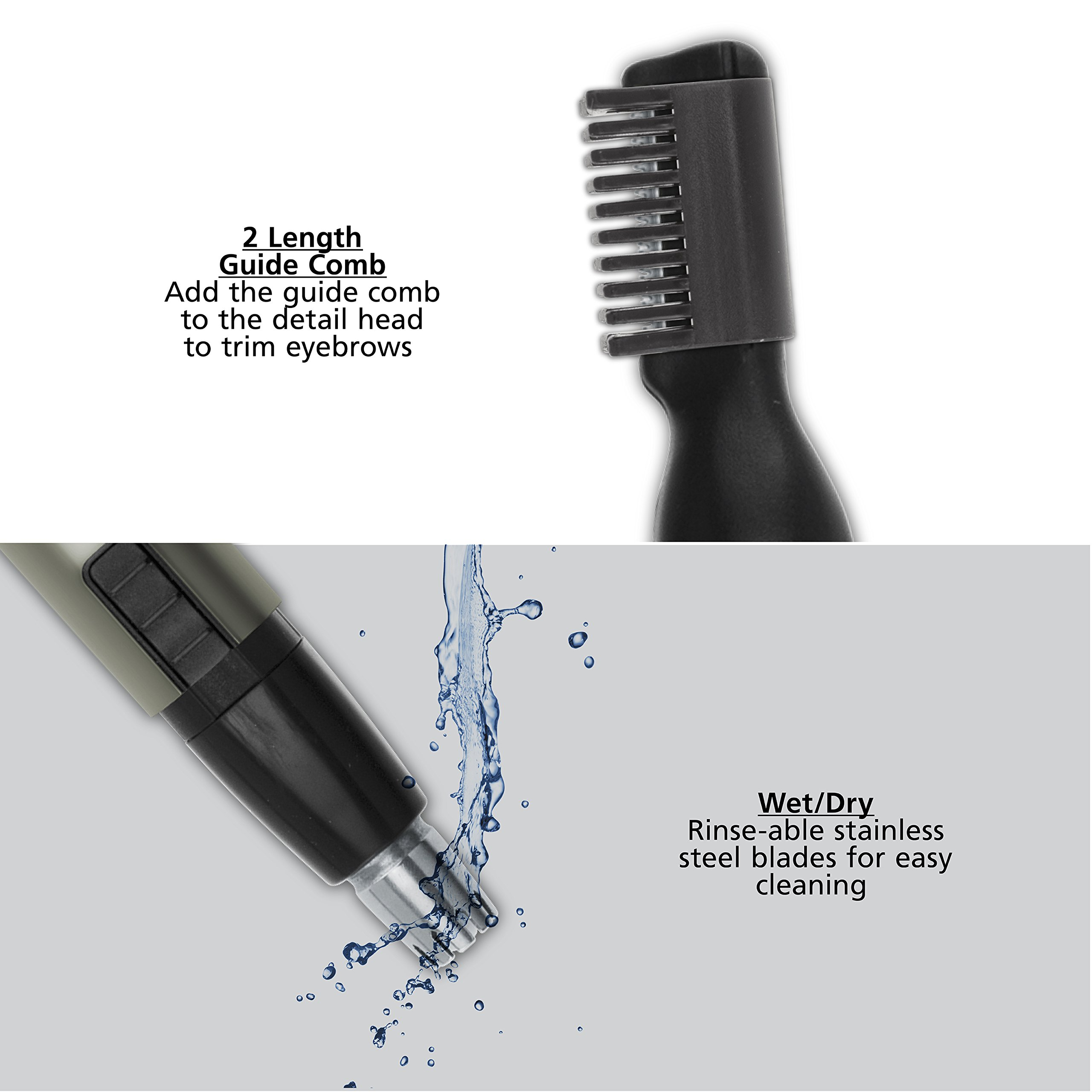 Wahl Lithium Micro Groomsman Trimmer, Compact, Cordless, Battery Operated, Includes Guide Comb, Detail Trimmer for Eyebrows, Sideburns, and Neckline Trimming, and Eye and Nose Hair Trimmer, 5640-1001 by Wahl (Image #3)
