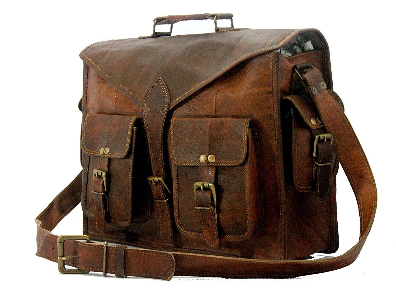 Handmade World Genuine Messenger Bag Leather Laptop Bags Computer Satchel Briefcase (18 Inch) by Handmade World (Image #4)